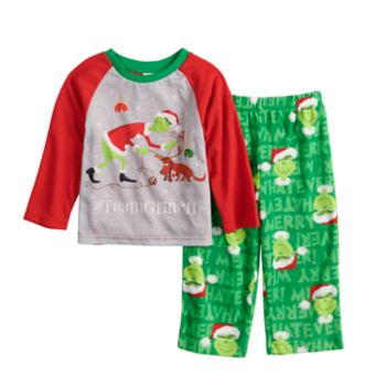 "Toddler Jammies For Your Families How the Grinch Stole Christmas Grinch ""#TeamGrinch"" Top & Microfleece Bottoms Pajama Set"