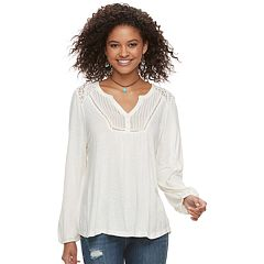 Juniors' American Rag Lace Henley Top