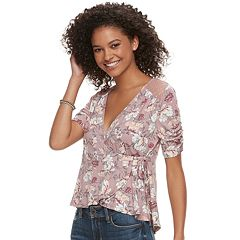 Juniors' American Rag Floral Wrap Top
