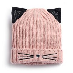 Women's SO® Lace Cat Ear & Whisker Knit Beanie
