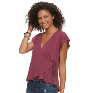 Juniors' American Rag Solid Wrap Top