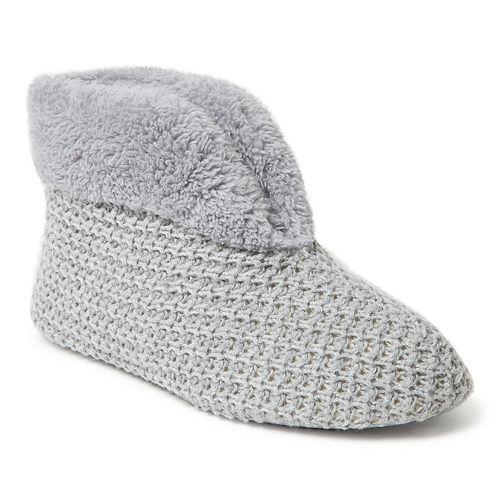 44253e5943bf Women s Dearfoams Textured Knit Bootie Slippers