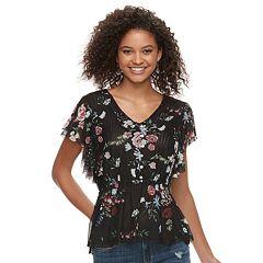 Juniors' American Rag Floral Mesh Top