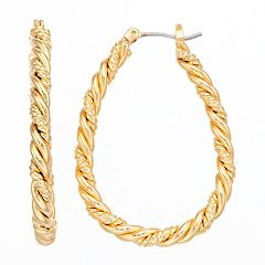 Napier Textured Teardrop Hoop Earrings