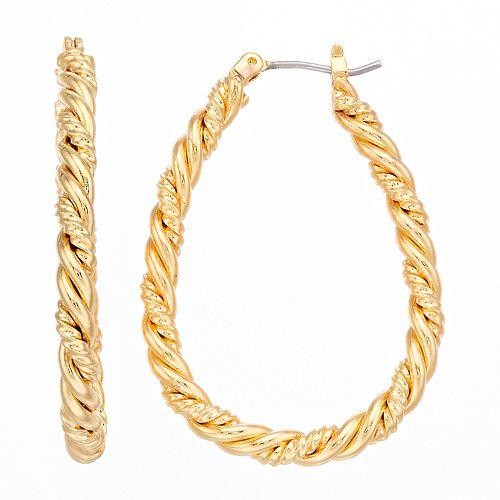 Napier Textured Teardrop Hoop Earrings