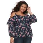 Juniors' Plus Size Liberty Love Lace-Up Off-the-Shoulder Top