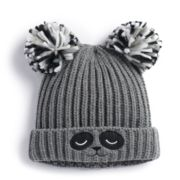 SO® Double Pom Knit Critter Beanie