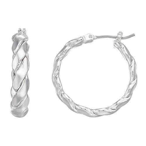 Napier Silver Tone Braided Hoop Earrings