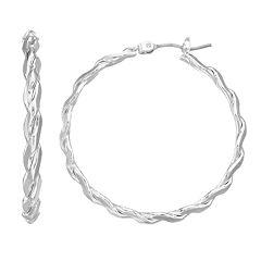 Napier Twisted Silver-Tone Hoop Earrings