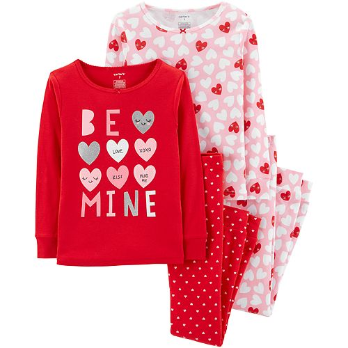 "Girls 4-14 Carter's ""Be Mine"" Hearts Tops & Bottoms Pajama Set"