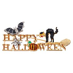 Napier Gold Tone Happy Halloween Pin