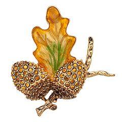 Napier Gold Tone Leaf & Acorn Pin
