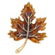 Napier Gold Tone Leaf Pin