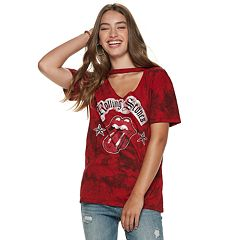 Juniors' The Rolling Stones Cutout Tie-Dye Tee