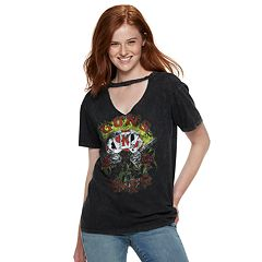 Juniors' Guns N' Roses Cutout Tie-Dye Tee