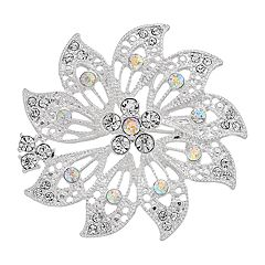Napier Silver Tone Simulated Crystal Flower  Pin