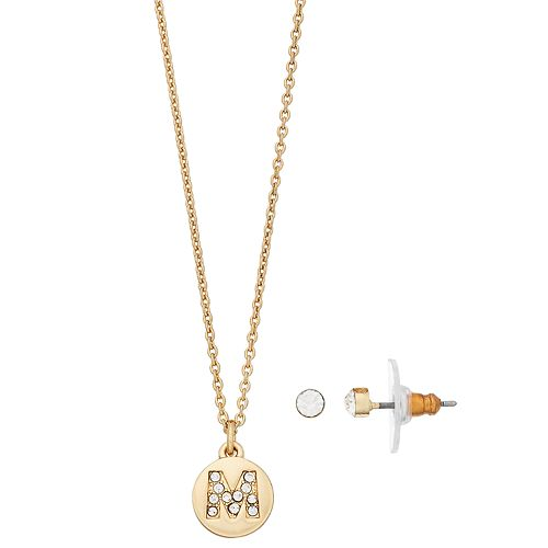 LC Lauren Conrad Crystal Initial Pendant Necklace & Stud Earring Set