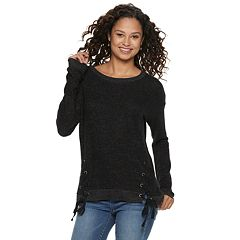 Juniors' SO® Lace-Up Long Sleeve Top