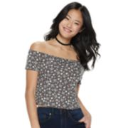 Juniors' Love, Fire Ribbed Off-the-Shoulder Top