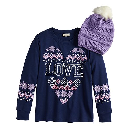 Girls 7-16 Self Esteem Graphic Sweatshirt Set with Pom Hat