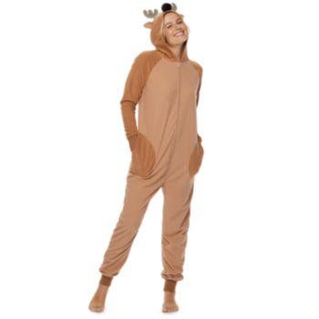 Women's Jammies For Your Families Reindeer Microfleece One-Piece Pajamas