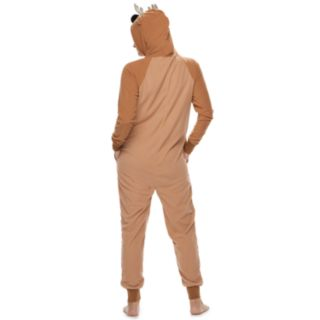 Women's Jammies For Your Families Reindeer Microfleece One-Piece Pajamas