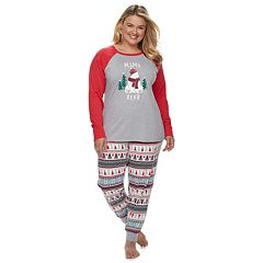 Plus Size Jammies For Your Families Polar Bear Fairisle Family Pajamas 'Mama Bear' Top & Bottoms Set by Cuddl Duds