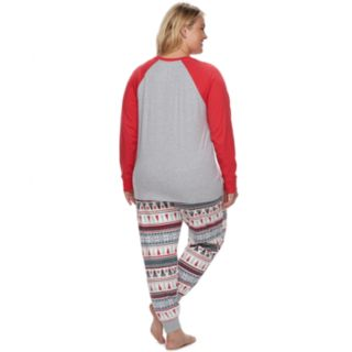 "Plus Size Jammies For Your Families Polar Bear Fairisle Family Pajamas ""Mama Bear"" Top & Bottoms Set by Cuddl Duds"