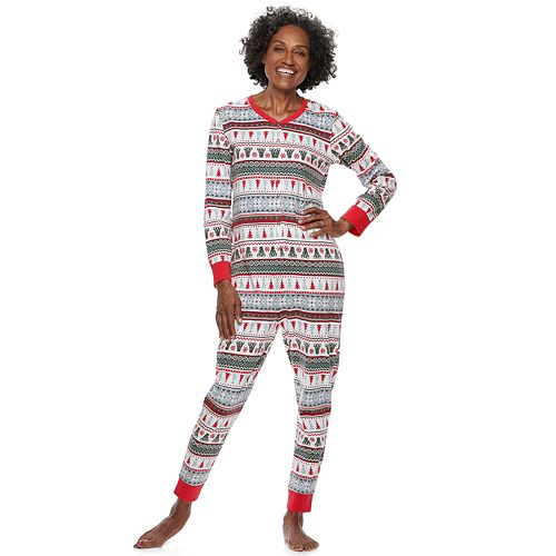 Women's Jammies For Your Families Polar Bear Fairisle Family Pajamas One-Piece Pajamas by Cuddl Duds