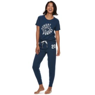 Women's Jammies For Your Families Sunday Funday Top & Jogger Pants Pajama Set by Cuddl Duds