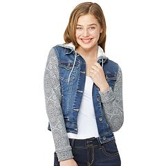 Juniors' Wallflower Dreamer Hooded Knit-Sleeve Denim Jacket