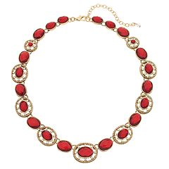 Napier Red Simulated Crystal Collar Necklace