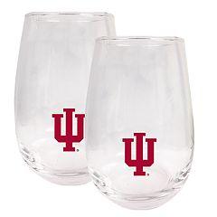 Indiana Hoosiers Stemless Wine Glass Set