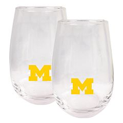 Michigan Wolverines Stemless Wine Glass Set
