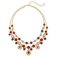 Napier Red Simulated Crystal Double Strand Necklace