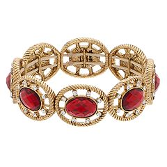 Napier Red Simulated Crystal Stretch Bracelet