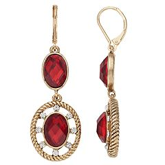 Napier Double Circle Drop Earrings