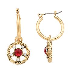 Napier Red Simulated Crystal Drop Earrings