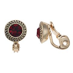 Napier Red Simulated Crystal Button Clip-On Earrings