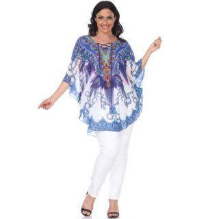 Plus Size White Mark Lace-Up Poncho