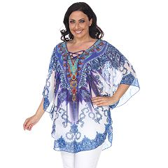 Plus Size White Mark Lace-Up Poncho