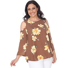 aef9069dcf21de Plus Size White Mark Cold-Shoulder Floral Top