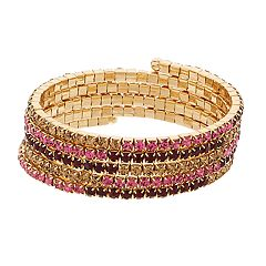 Napier Gold Tone Pink & Red Simulated Stone Coil Bracelet