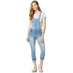 Juniors' Wallflower Mid-Rise Skinny Denim Overalls