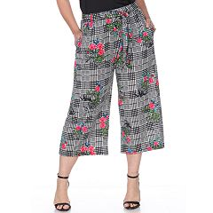Plus Size White Mark Printed Gaucho Pants