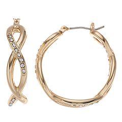 Napier Simulated Crystal Hoop Earrings