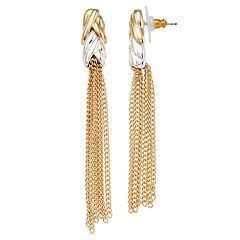 Napier Two Tone Chain Tassel Drop Earrings