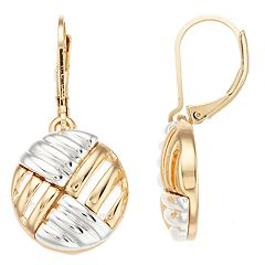 Napier Two Tone Textured Drop Earrings