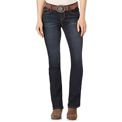 Juniors' Wallflower Mid-Rise Belted Bootcut Jeans