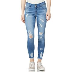 Juniors' WallFlower Mid-Rise Curvy Destructed Ankle Skinny Jeans